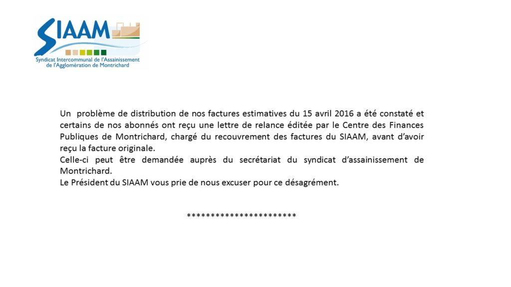 SIAMM - Pb facture 2016